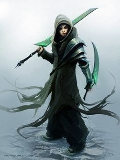 Hooded man with long and short sword