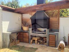 Barbecue Garden, Built In Braai, Bbq Grill, Outdoor Entertaining, Ideas Para, Pergola, Outdoors, Exterior, Outdoor Structures
