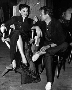 James Mason and Judy Garland on the set of A Star is Born …