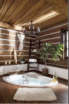 Rustic cabin bathroom jacuzzi tub