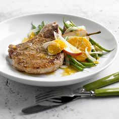 Lemon, mint, pepper and honey provides an enticing sweet-sour balance to this pork chop recipe.
