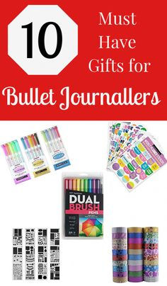 Must have gifts for bullet journallers! A list of 10 journalling essential supplies to save time, add creativity, and more to your bullet journal!