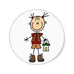 Shop Camping Girl With Lantern Tshirts and Gifts Classic Round Sticker created by stick_figures. Stick Figure Drawing, Stick Art, Cartoon Sketches, Dibujos Cute, Paper Crafts Origami, Bullet Journal Art, Simple Doodles, Camping Gifts, Stick Figures
