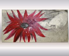 Red flower abstract painting