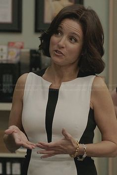 Selina's black and white colorblock dress on Veep.  Outfit Details: http://wornontv.net/31930/ #Veep