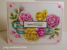 Power Poppy - The Blog: Customer Card by Judy Woodland using Power Poppy's Digital Stamp Everything's Rosy!