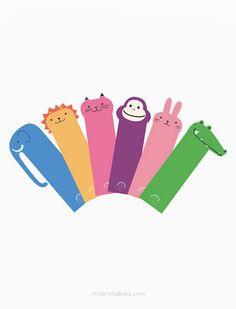 6 marcapaginas infantiles para imprimir gratis de animales, elige entre: elefante, león, gato, mono, conejo o cocodrilo.