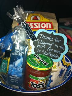 "Volunteer gifts:  Thanks for chipping in this year.  You were so ""dip""endable. #thankyougifts"