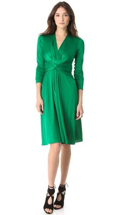 Issa London Engagement Silk Jersey Wrap Dress in Olive Green