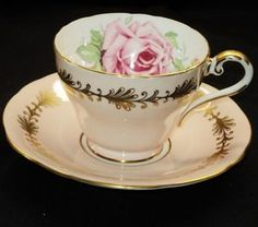 AYNSLEY PINK ROSE PALE PINK PEACH GOLD TEA CUP AND SAUCER