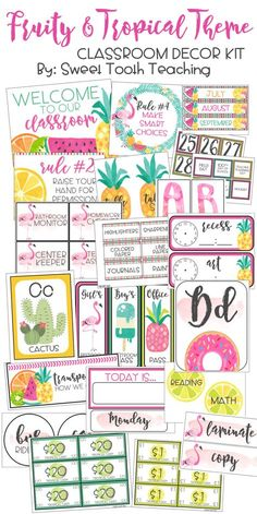 200+ PAGES of colorful and tropical classroom decor!
