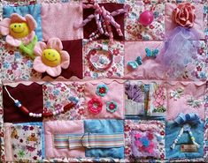 Blooms, Butterflies, Beads and Bows Oh My!  Spring has sprung on this Fidget Blanket for Dementa, Alzheimer, Stroke or Nursing Home patients