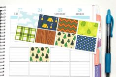 8 Camping/Outdoors Stickers for Plum Paper Planners! Cut for Plum Paper but can be customized to fit other planners! #SQ00661