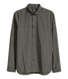 Cotton Poplin Shirt | Khaki green/checked | Men | H&M US