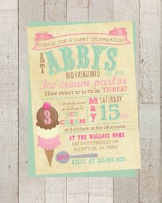 Ice Cream Party, Girls Birthday Party Personalized Invite, Retro Ice Cream Birthday, Birthday Card Customizable by MilkAndCreamPrinting on Etsy https://www.etsy.com/listing/199255083/ice-cream-party-girls-birthday-party