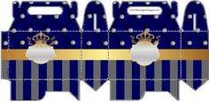 Corona Dorada en Azul y Brillantes: Cajas para Recuerdos de Bodas para Imprimir Gratis.