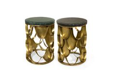 Modern Side Table KOI by BRABBU - a round and small side table with a brushed brass base and a green and black marble top. #interiordesign #homedecor