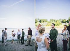 casual beach elopement ceremony on Northwest beach with friends and family surrounding the couple @myweddingdotcom