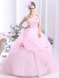 カラードレス お色直し プリンセスライン ビスチェ フロア チュール ピンク ウェディングドレス 花嫁ドレス B30007
