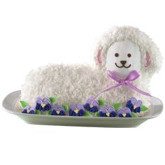 Sweet Floral Lamb Cake - Sweet in design and taste, this lamb cake is covered in coconut and decorated with royal icing pansies. Easy to bake using the Stand Up Lamb Pan, this cake will be the center of attention at your holiday celebration. Wilton Cakes, Cupcake Cakes, Rose Icing, Easter Lamb, Easter Food, Easter Eggs, Lamb Cake, Icing Colors, Wilton Cake Decorating