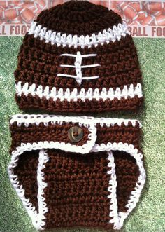 Baby Boy Football Crochet Hat And Diaper Cover by BrightCrochet, $36.00