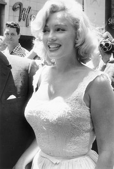 Marilyn Monroe at the opening of the Time Life Building NYC, 1957