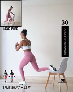 Full Body HIIT Chair Workout from IG: mrandmrsmuscle Split Squat - Left Split Squat - Right Incline Push-ups Incline Skier Jumps Triceps Dips Elevated Crunch Hold Save this pi Gym Workout Videos, Gym Workout Tips, Fitness Workouts, Butt Workout, Workout Challenge, Chair Workout, At Home Workouts, Body Fitness Exercise, Exercise At Home