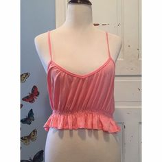 LA Hearts Pink Crop Top Measurements - 15 1/2 / Length 7 1/2in  Please note that the straps are very long and there is no adjuster. Straps can be tied at the top to shorten. LA Hearts Tops Crop Tops