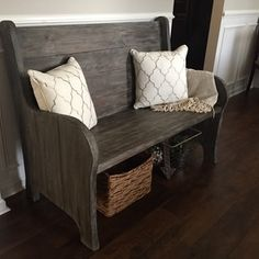 Beautiful DIY church pew on RYOBI Nation. Love that stain color!