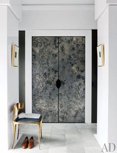A Greenwich, Connecticut Home with Cutting-Edge Style Warren's dressing area features resin-and-metal doors crafted by Based Upon; the chair is by Paul Mathieu, and the marble floor is by Paris Ceramics. Design Entrée, Door Design, House Design, Design Ideas, Design Room, Garden Design, Dressing Room Closet, Dressing Area, Architectural Digest