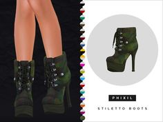 Stilleto Camo Army Boots for The Sims 4 Sims 4 Cas, Sims Cc, Sims 4 Cc Shoes, Nikki Sims, Sims 4 Cc Packs, Sims 4 Cc Skin, Sims 4 Toddler, Sims 4 Update, Stiletto Boots