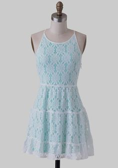 at Ruche // mint dress with white lace over lay