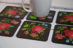 Set of 6 hand painted folk coasters. Polish Lowicz flowers.