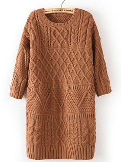 Khaki Half Sleeve Cable Knit Long Sweater 34.26