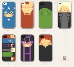 iPhone 5 hard case the cute Avengers  /choose one/ the Hulk , Hawkeye , Captain America , Iron Man , Thor. $15.00, via Etsy.