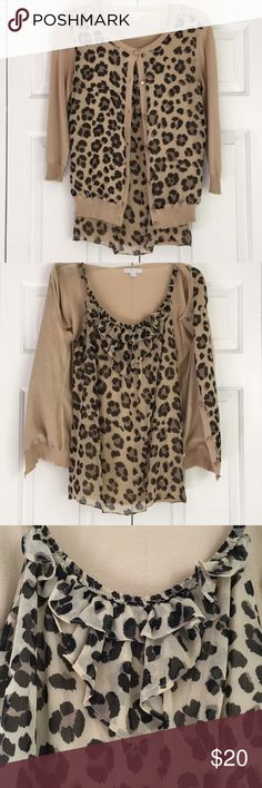 Leopard print Cardigan and tank set Adorable leopard print set in great condition. Tank has a built in sports bra. New York & Company Sweaters Cardigans