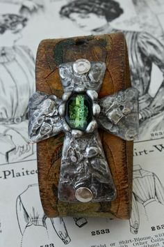Chunky Soldered Cross Cuff with Vintage Green Stone