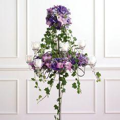 Candelabra - Lavender Gladiolus, Purple 'Monte Cassino' Asters, Lavender Agapanthus, Eryngium, Purple Trachelium, Purple Hydrangea, 'Belladonna' Delphinium