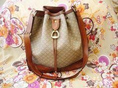 Vintage CELINE Bucket Drawstring Monogram Leather Bag.