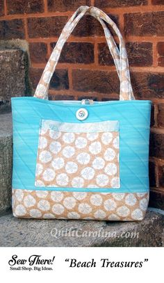 """""""Beach Treasures"""" – show off your beach fabrics and get ready for a day in the sand with this perfect sized tote! A 2017 Quilt! Carolina pattern."""