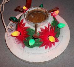 Vintage Christmas Tree Stand ~ Red Cast Iron with Bells, Bows and ...