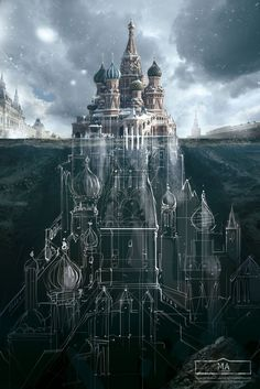 "Architecture and what Lies Beneath. Advertising campaign called ""Discover the full story"" to advertise the Schusev State Museum of Architecture. More information and more images from this Artist, Press the Image. Fantasy Places, Fantasy World, Fantasy Art, Monument Russe, Blog Art, Saatchi & Saatchi, Fantasy Castle, Fantasy Landscape, Landscape Art"
