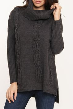 Cable Cowl Neck Sweater In Charcoal... looks sooo comfy!