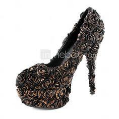 bronze brilhando cetim bombas stiletto superior do calcanhar com flor festa / noite de sapatos