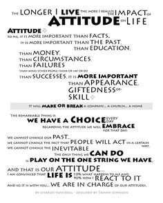 """Attitude by Chuck Swindoll  Philippians 2:3-5 """"Do nothing out of selfish ambition or vain conceit. Rather, in humility value others above yourselves, not looking to your own interests but each of you to the interests of the others.   In your relationships with one another, have the same mindset as Christ Jesus:"""""""