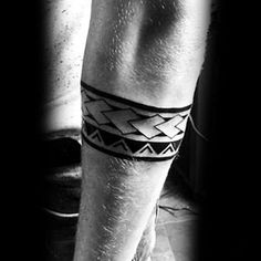Male With Forearm Band Tattoo With Polynesian Tribal Design #polynesiantattoosforearm