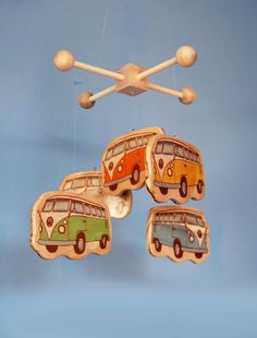 Volkswagon bus baby mobile for a California inspired or beach themed nursery. use sublimate board and put pictures on