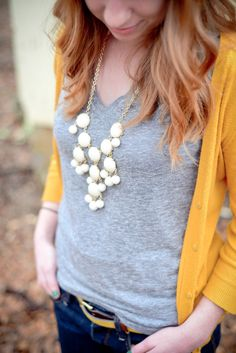 Kinda making me wonder why I don't have a yellow cardigan yet. Gray v-neck t-shirt, golden yellow cardigan, and cream bubble necklace. Cardigan Outfits, Casual Outfits, Cute Outfits, Yellow Outfits, Fall Winter Outfits, Autumn Winter Fashion, Mustard Yellow Cardigan, Mustard Cardigan Outfit, White Cardigan