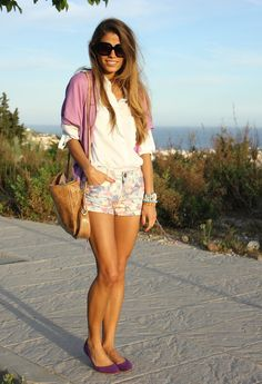 floral shirts + white shirt + colorful cardi