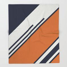 Retro Stripes In Blue Orange Bed Throw Blanket by Pelaxy - x Blanket Properties Of Materials, Throw Blankets, Blue Orange, Stripes, Crisp, Warm, Living Room, Retro